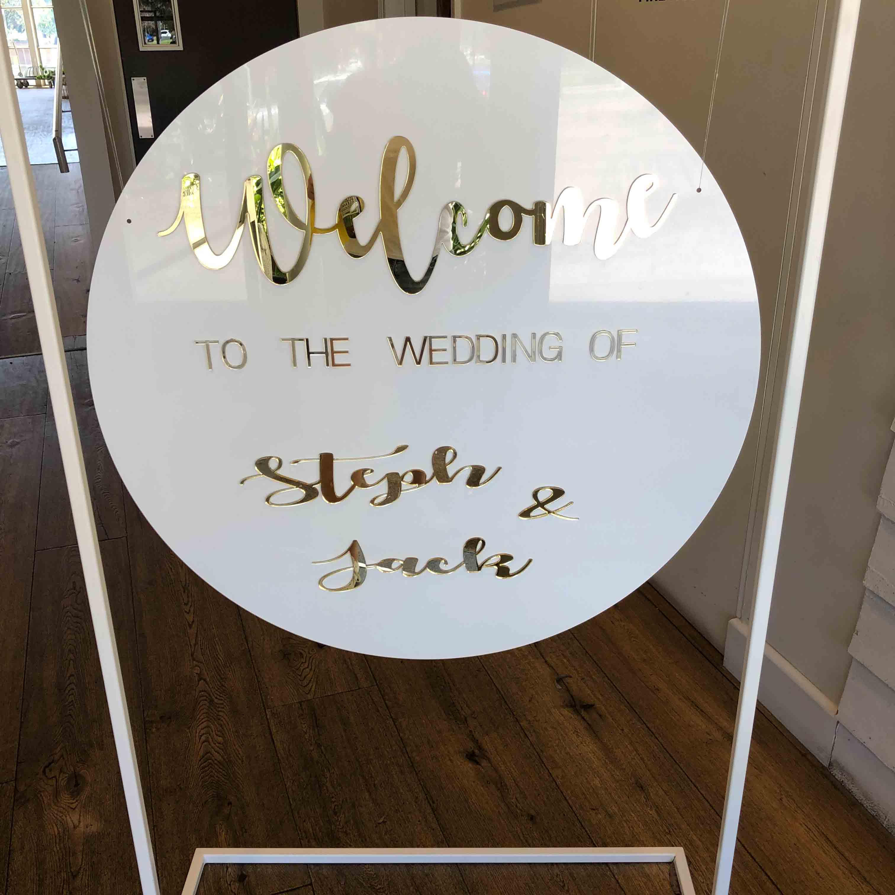Personalised White Wedding Signage And Stand For Hire